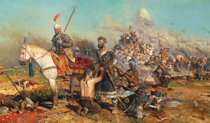 "Scythians: A Mongol raiding party captures the Grand Prince Mtislav of Kiev in 1132 CE. Note the many ethnicities and clothing styles of the ""Mongol"" warriors — a variability that was often seen on the steppe."