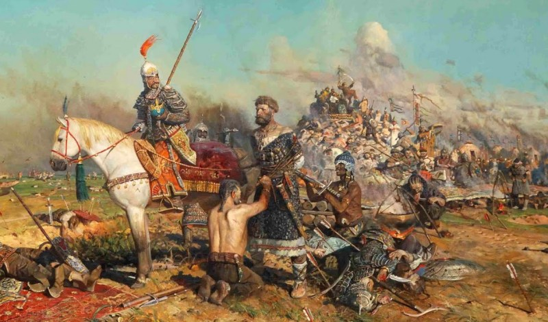 """Scythians: A Mongol raiding party captures the Grand Prince Mtislav of Kiev in 1132 CE. Note the many ethnicities and clothing styles of the """"Mongol"""" warriors — a variability that was often seen on the steppe."""