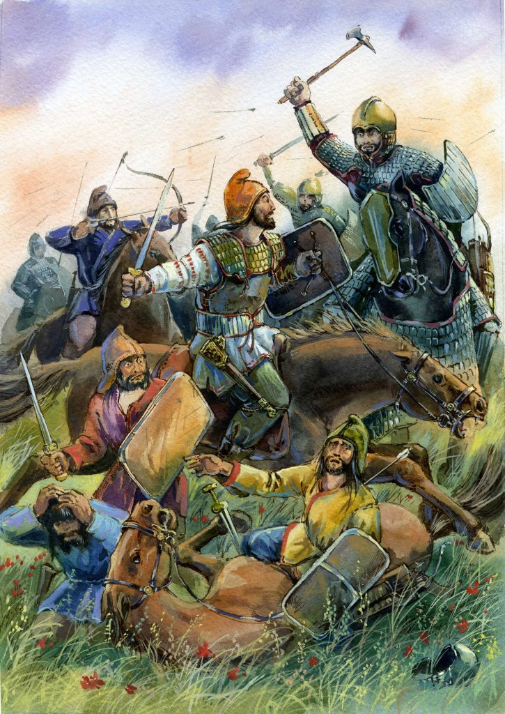 Scythians: Scythian warriors in battle.