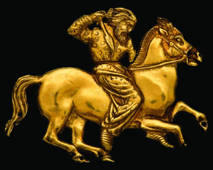A Scythian horseman, worked in gold.