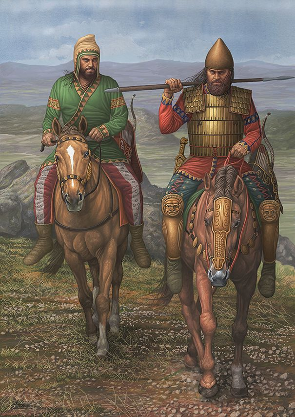 Scythians: Scythian warriors on horseback.