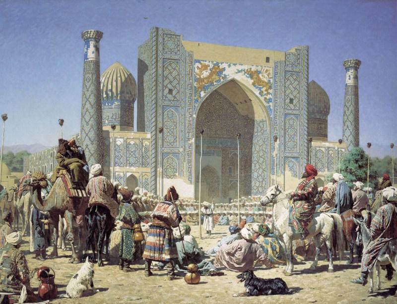 """Triumph"" by Vasily Vereshchagin, depicting the Sher-Dor Madrasah in Samarkand."