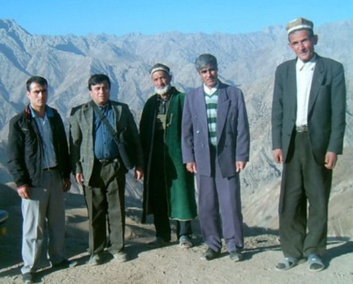 Yagnobi men (descendants of the Sogdians) in modern Tajikistan.