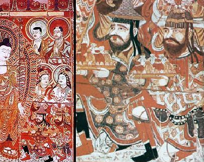 Sogdians donors to the Buddha, Bezeklik, eastern Tarim Basin, China, 8th century.