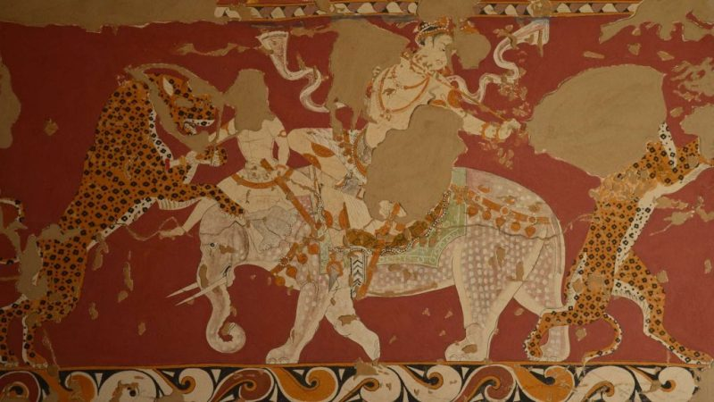 A Sogdian warrior slays a tiger from the back of an elephant, in this fresco from Panjikent.
