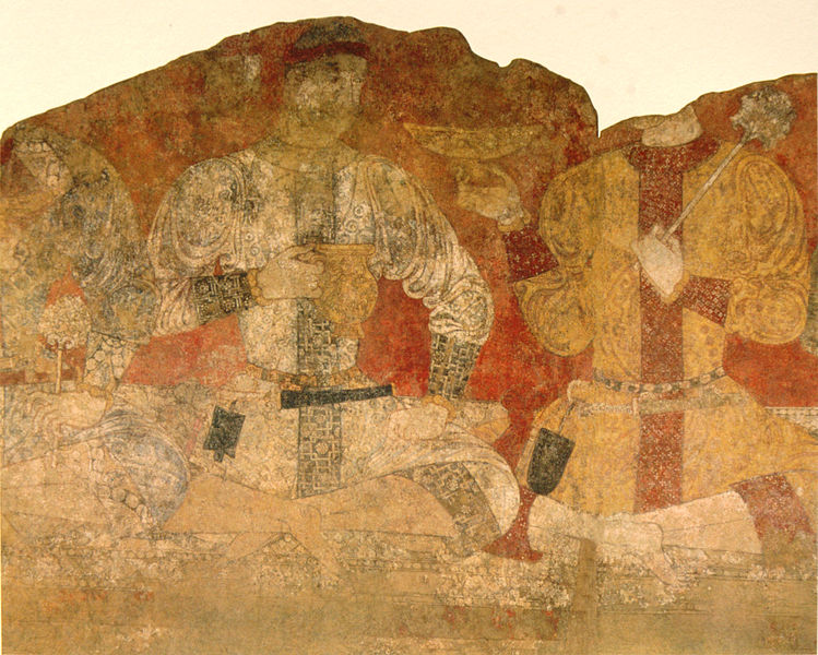 Sogdian men at a banquet, from a fresco in Panjikent.