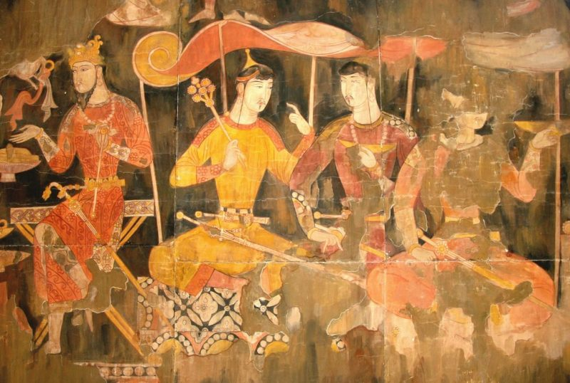 Sogdian merchants, from a wall painting in Panjikent.