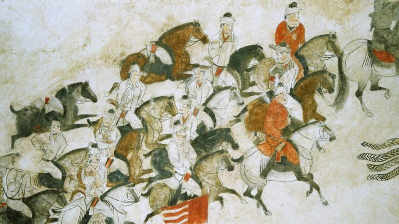 The Battle of Talas, as depicted in a later Chinese painting.