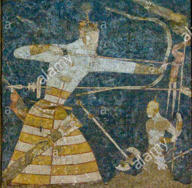 A Sogdian archer, from a fresco in Panjikent.