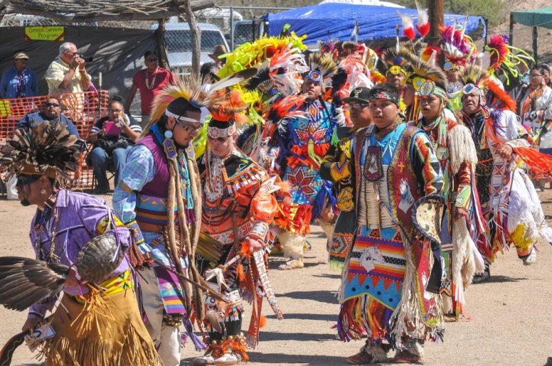 O'odham people perform a traditional dance in Arizona