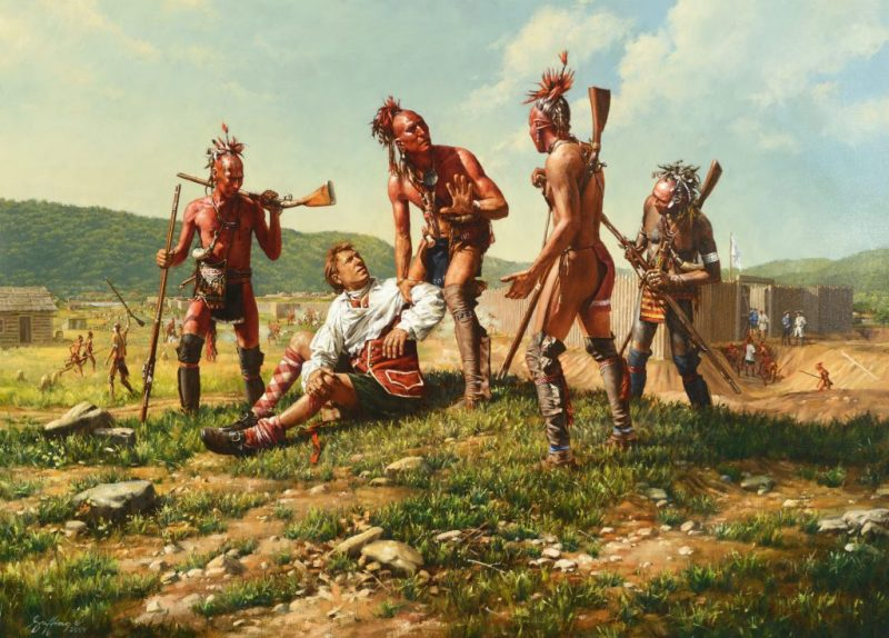 Woodland Indians helping a wounded European man
