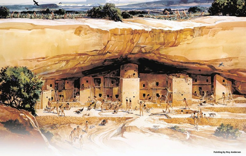 The cliffside dwelling known today as Cliff Palace, in Mesa Verde, Colorado