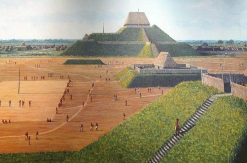 Mississippian earthwork pyramids in the city of Cahokia