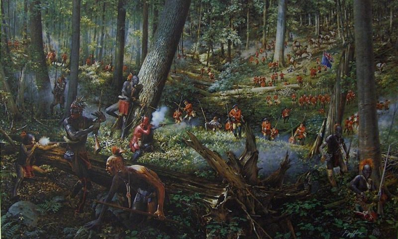 Haudenosaunee (Iroquois) warriors flee from the attacking European infantry
