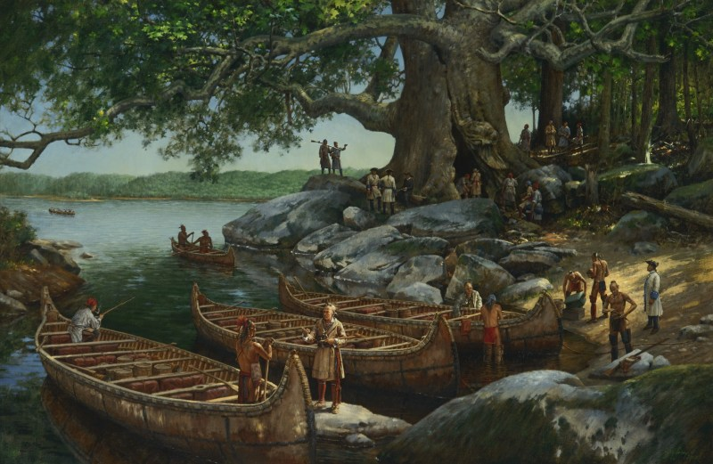 Haudenosaunee (Iroquois) craftsmen sell riverboats to Canadian merchants