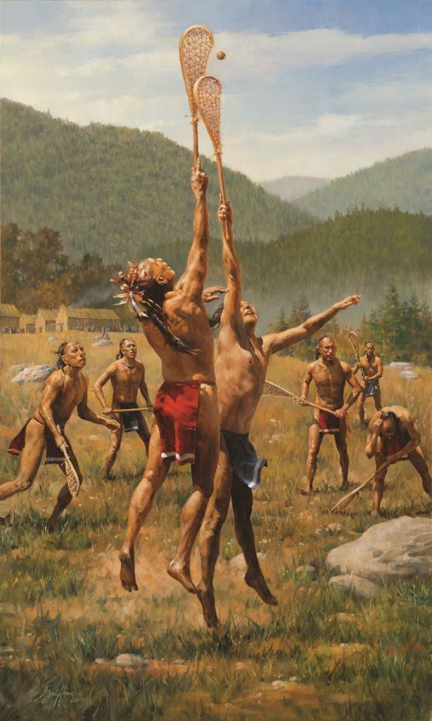Haudenosaunee (Iroquois) men play lacrosse