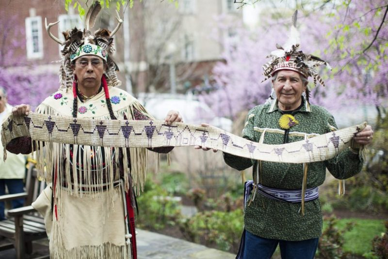 Leaders of the Onondaga Nation protest the taking of their land