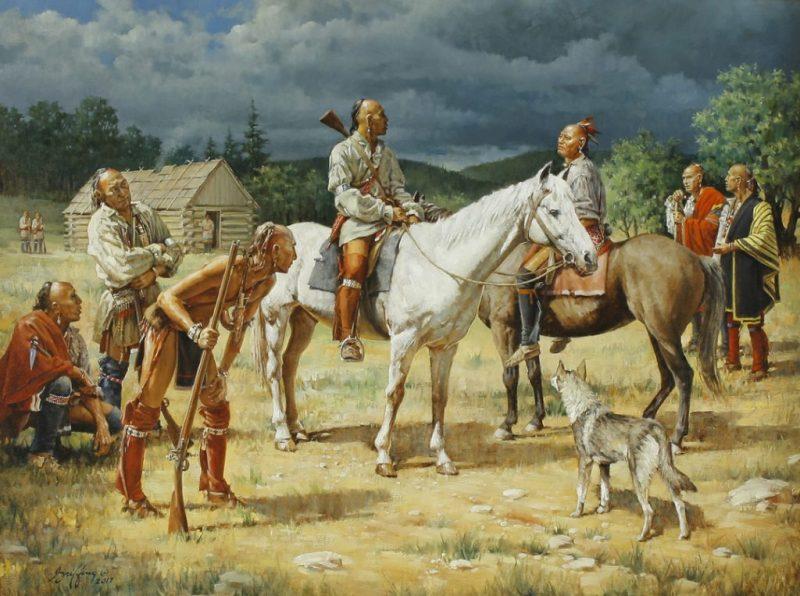 Prosperous Haudenosaunee (Iroquois) people on an English-style farm