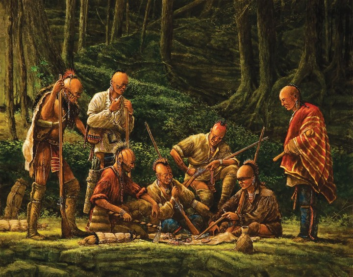 Haudenosaunee warriors wearing European fabrics