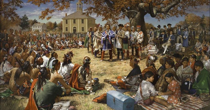 Haudenosaunee (Iroquois) people discuss a new treaty with the English