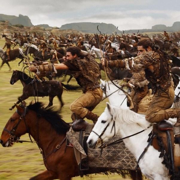 Dothraki riders loosing arrows from horseback