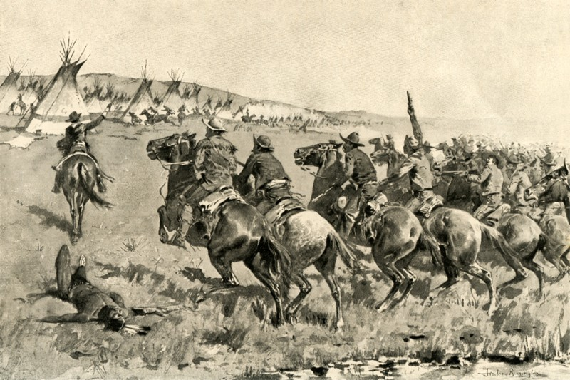 American soldiers attack a Comanche settlement