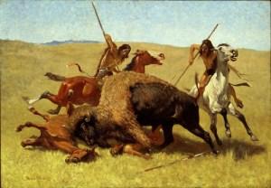 Comanche hunters killing a bison