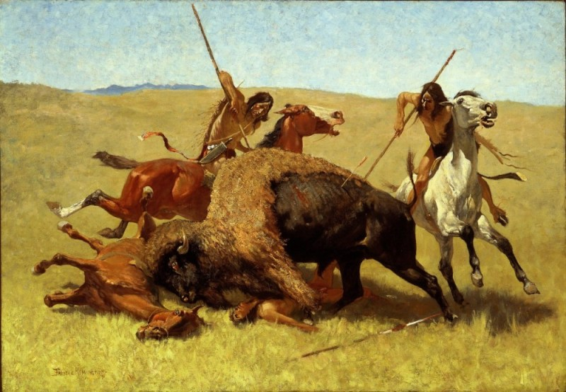 Comanche hunters killing a bison
