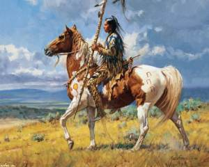 A Comanche warrior on his painted horse