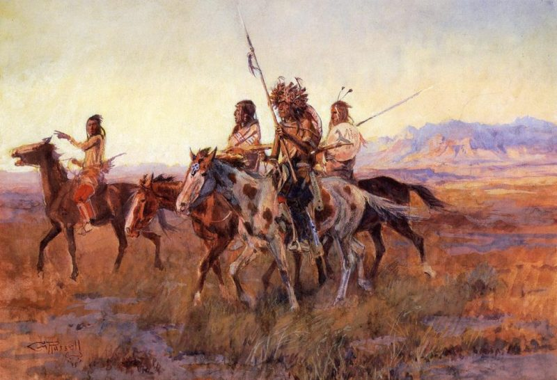Comanche riders on the open plains