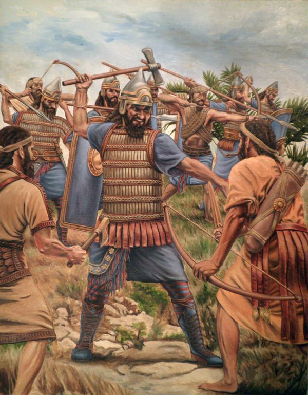 Assyrian soldiers slay their enemies