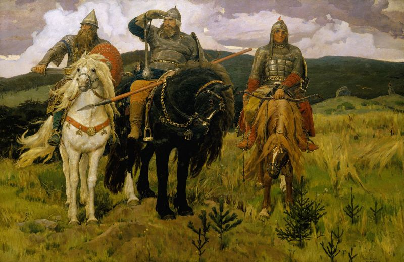 """Bogatyri"" - three of the most famous bogatyrs, Dobrynya Nikitich, Ilya Muromets and Alyosha Popovich, in an 1898 painting by Viktor Vasnetsov"