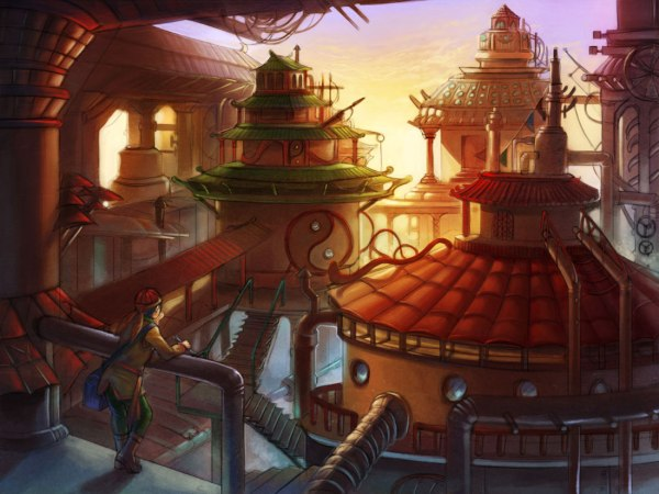Asian Steampunk Concept Art City