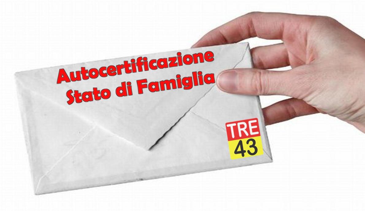 Lettera Modulo Autocertificazione Stato Di Famiglia