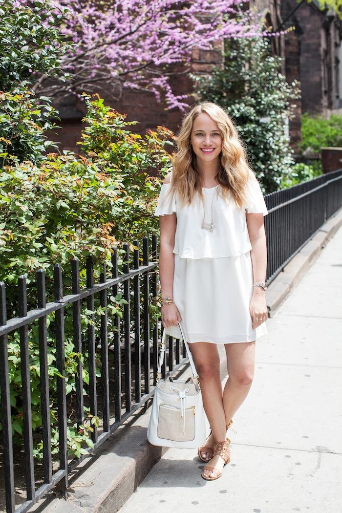 Topshop White Cold Shoulder Dress, The Stripe