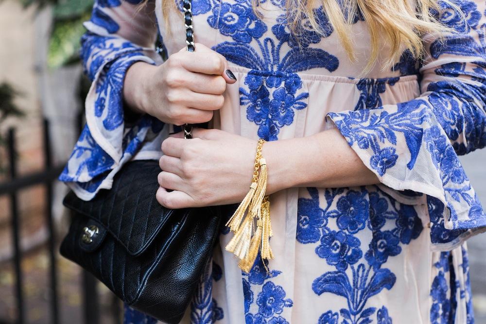 for love and lemons temecula mini dress, e. kammeyer tassel bracelet, chanel 2.55 bag