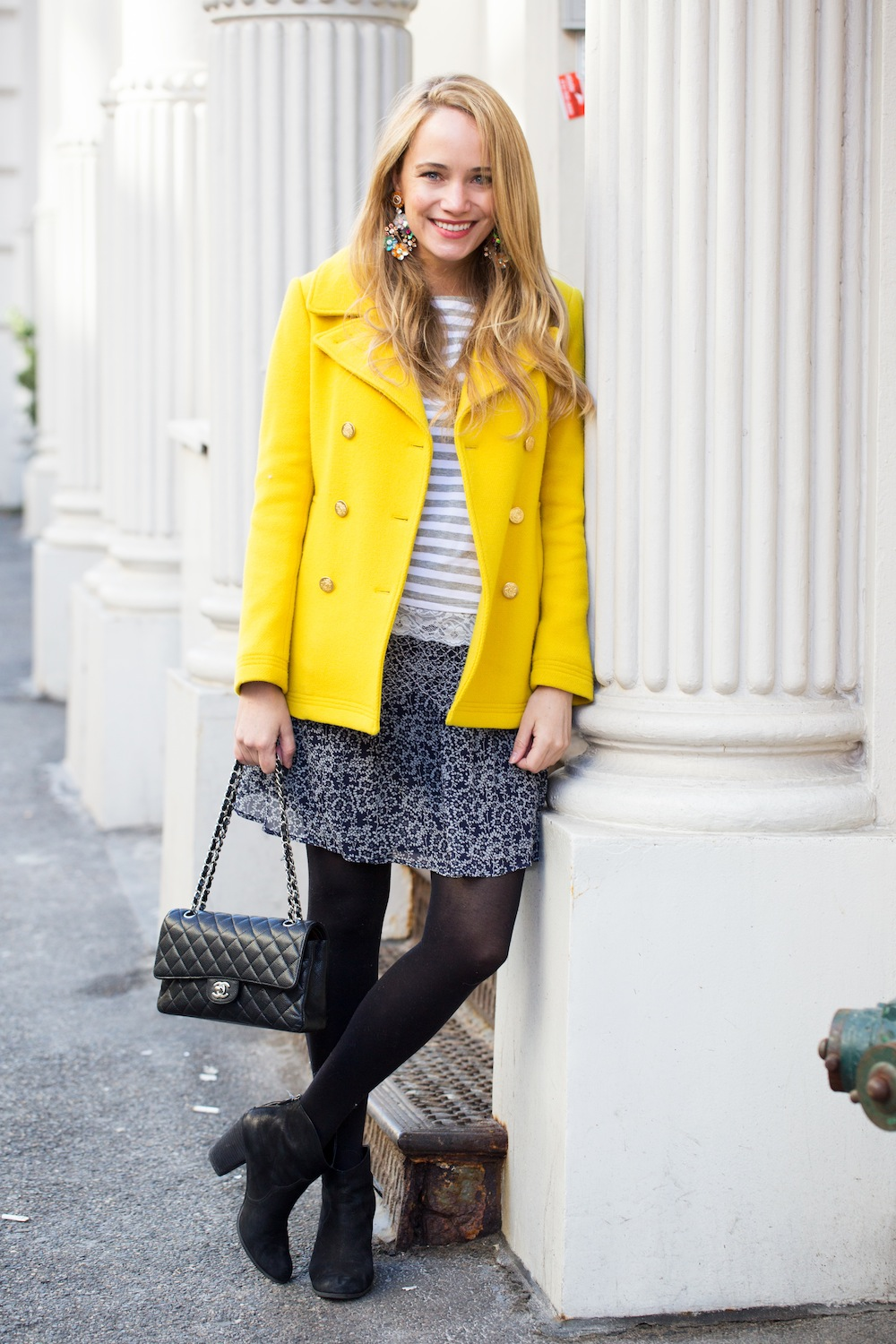 j.crew yellow peacoat, striped tee, ulla johnson skirt, express tights, nordstrom boots, j.crew floral sequin earrings - grace atwood, the stripe