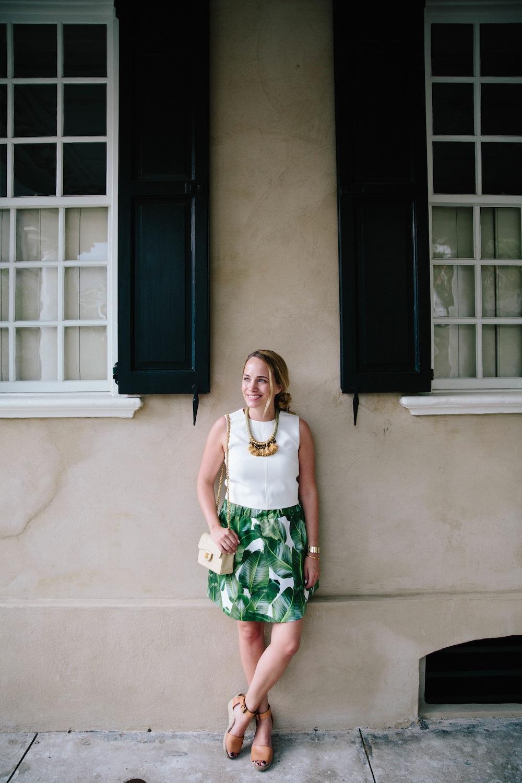 palm leaf print skirt 1