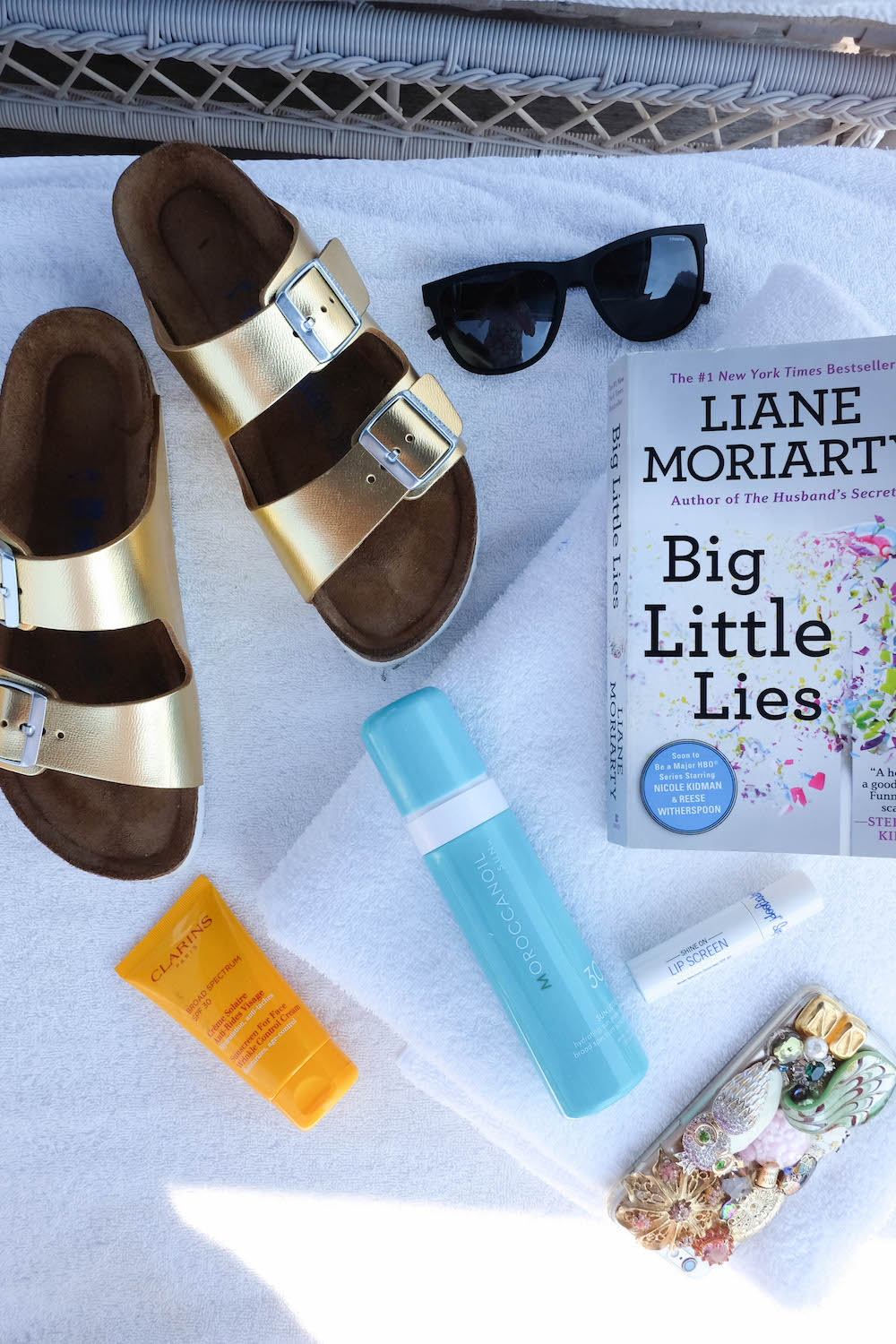 The Wequassett Resort and Golf Club - Poolside Cabana Essentials - Liane Moriarty Big Little Lies, Gold Birkenstocks, Polaroid Eyewear