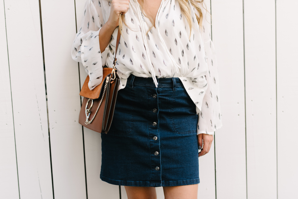 IRO Naomie Metallic Silk Peasant Top, Vince Camuto Denim Mini Skirt, Sole Society Brigitte Wedges - Grace Atwood, The Stripe
