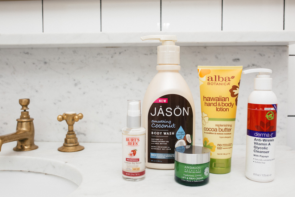 Best Natural Beauty Products Drugstore - Andalou Naturals Lift & Firm Cream, Burt's Bees Renewal Firming Day Lotion, Jason Soothing Coconut Body Wash, Alba Botanica Hawaiian Hand & Body Lotion, Derma E Anti-Wrinkle Vitamin A Glycolic Cleanser - Grace Atwood, The Stripe