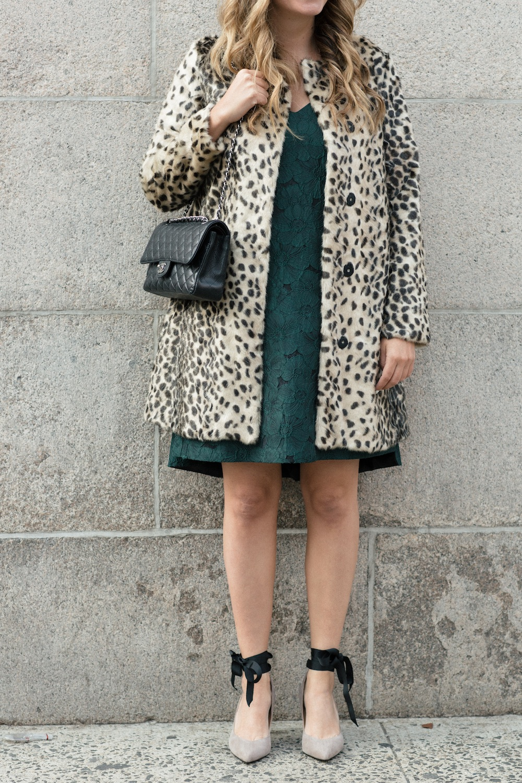 J. McLaughlin Faux Leopard Coat // Paper Crown Fez Dress // Chanel Purse // Banana Republic Pumps // J. McLaughlin Luna Oversized Sunglasses - Grace Atwood, The Stripe