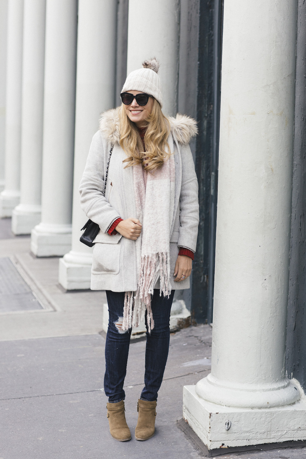 J.Crew Chateau Parka, Good American Jeans - A Cozy Winter Outfit Idea | Grace Atwood, The Stripe