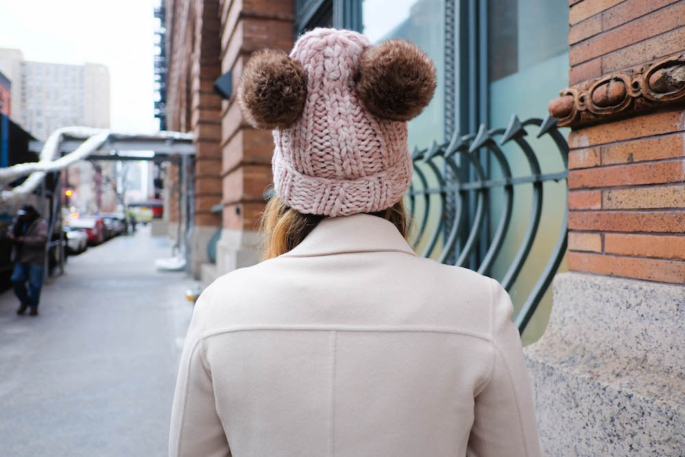 "diy eugenia kim mimi beanie - diy double pom pom beanie // inspired by eugenia kim's $225 ""mimi"" beanie // the stripe blog"