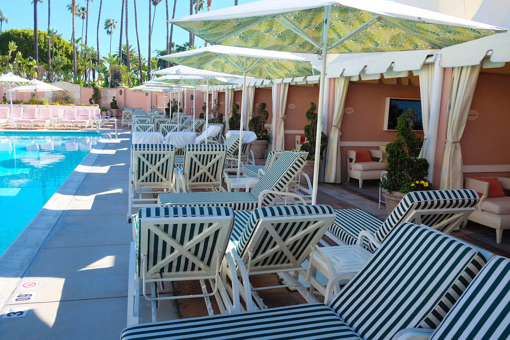 Beverly Hills Hotel - pool and cabanas