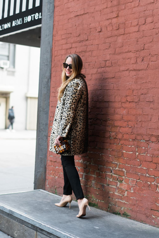 j. mclaughlin leopard coat // moon & lola calypso clutch - grace atwood   the stripe blog