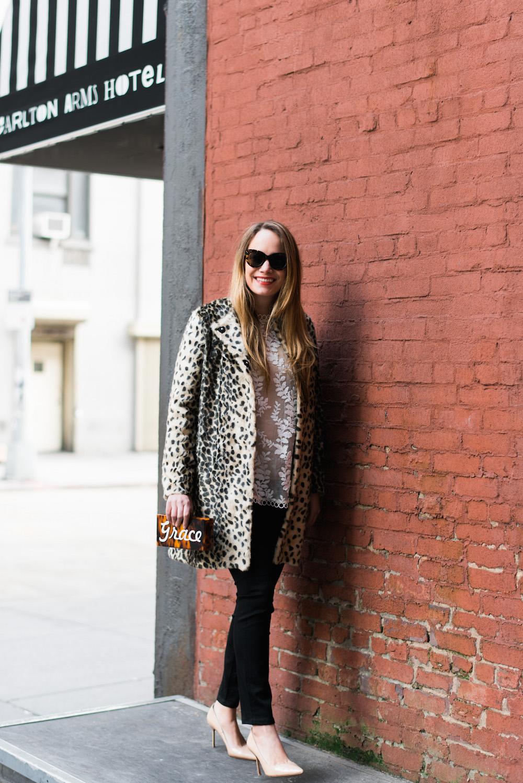j. mclaughlin leopard coat // zimmermann winsome vine blouse // moon & lola calypso clutch - grace atwood   the stripe blog