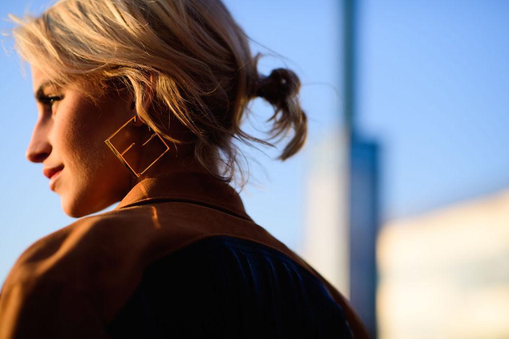 wearable street style nyfw fall 2017 // geometric earrings | the stripe