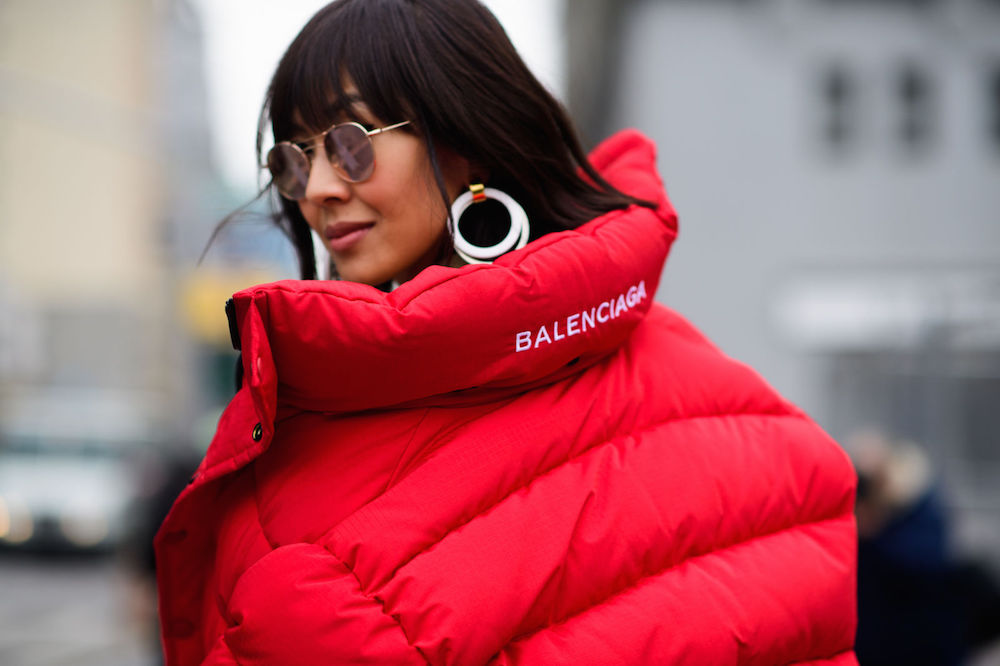 bold white earrings | nyfw street style 2017 / the stripe blog