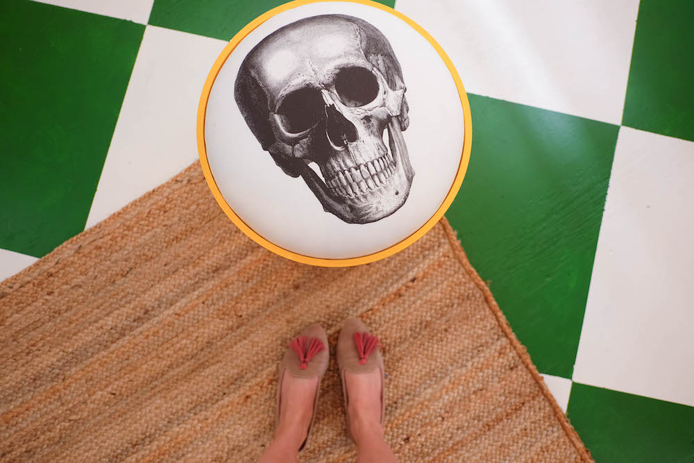 DIY checkerboard floor tutorial, vintage Kartell skull stool | The Stripe